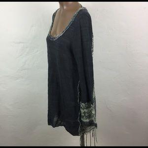 FREE PEOPLE Gray ETHNIC Boho LONG Sweater TUNIC L